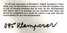 Klemperer, Otto: Statement regarding his recording of the Bruckner Symphony No. 8