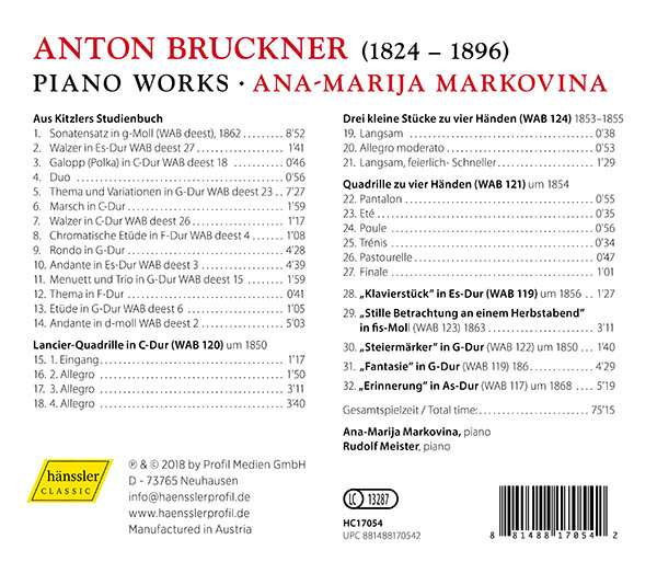 World premiere recording of Bruckner's early piano pieces